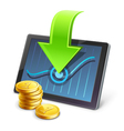 Tablet coins arrow diagram vector image