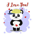 the panda in the baseball cap stands and holds a vector image vector image