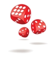 Three red dices in motion vector image