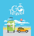 vacation travelling concept car with baggage go vector image vector image