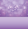 violet gift card with ribbon and confetti vector image vector image