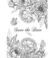 wedding card template with peony flowers and vector image