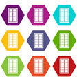 wooden latticed window icon set color hexahedron vector image vector image