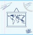world map on a school blackboard line sketch icon vector image