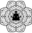 yoga symbol monochrome mandala art vector image