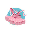 ballet icon pink ballet shoes and tutu cartoon vector image