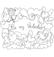 Valentine Day card with angel hearts vector image