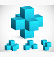 3d cube emblems or icons vector image vector image