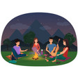 a group of friends sitting at the campfire in the vector image vector image