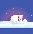 bear wearing red scarf playing snowball with blue vector image vector image