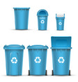 blue recycling bin bucket for paper trash vector image vector image