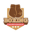 boxing championship colorful logo label with vector image