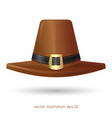 brown pilgrims hat with a buckle vector image vector image