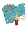 Cambodia map and landmarks with apsara dancer