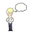 cartoon annoyed man with thought bubble vector image vector image
