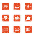 casino document icons set grunge style vector image vector image