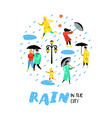 characters people walking in the rain cartoons vector image vector image