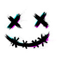 crazy scary brush stroke smile with glitch effect vector image