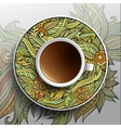 Cup of coffee and floral ornament vector image vector image