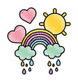 doodle rainbow clouds raining with hearts and sun vector image
