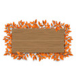 empty wooden sign with red autumn tree branch vector image