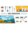 flat mining industry elements set vector image vector image