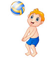 funny little boy playing beach volley vector image