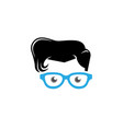 geek style head face logo vector image vector image