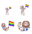 girl spaceman lgbt flag avatar icon vector image vector image