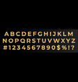 golden font numbers and letters alphabet vector image vector image