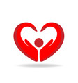 hands protection heart shape logo vector image vector image