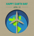 happy earth day paper cut wind energy vector image vector image