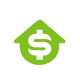 house symbol with dollar money symbol logo design vector image vector image