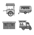 isolated object of market and exterior symbol set vector image
