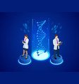 isometric digital dna structure in blue background vector image vector image