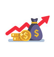 money bag with graph up positive vector image vector image