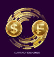 money currency exchange dollar franc vector image