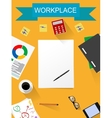 office desk working on white table vector image vector image