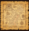 old pirate map with treasure location vector image vector image