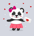 panda in a skirt and with a pink bow holds a vector image vector image