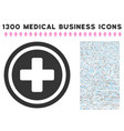 pharmacy cross icon with 1300 medical business vector image vector image