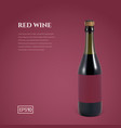 photorealistic bottle of red sparkling wine on a vector image