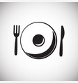 plate with fork and spoon on white background vector image