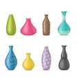 realistic 3d detailed ceramic vase color set vector image