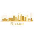 Riyadh City skyline golden silhouette