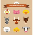set animal masks for costume party vector image vector image