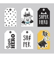 Set of 6 printable hand drawn Super Hero label vector image vector image