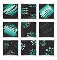 set of green ink brushes grunge square patterns vector image vector image
