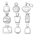 Set of linear hand drawn perfume bottles vector image vector image