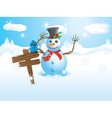 Snowman and signboard vector image vector image